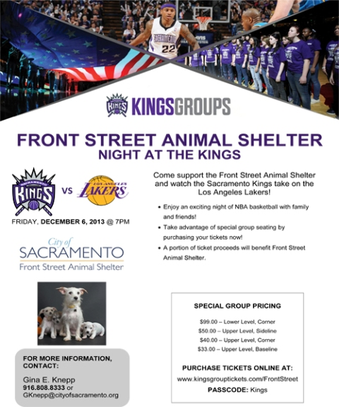 Front Street Animal Shelter Night at the Kings