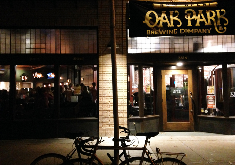 oak park brewing outside night
