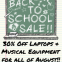 30% off laptops music