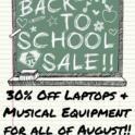 30% off laptops music