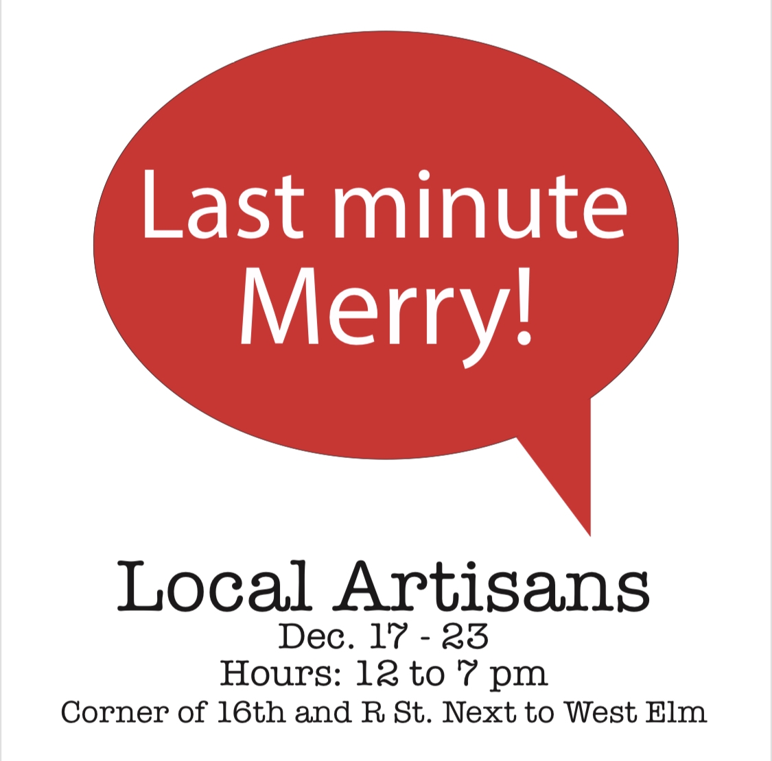 Last Minute Merry Local Artisan Pop Up Market